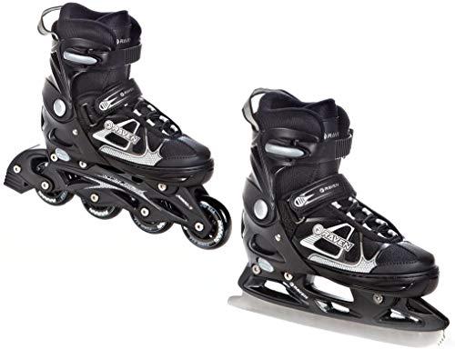 RAVEN 2in1 Schlittschuhe Inline Skates Inliner Spirit Black/White verstellbar Größe: 40-43 (25cm-27,5cm)