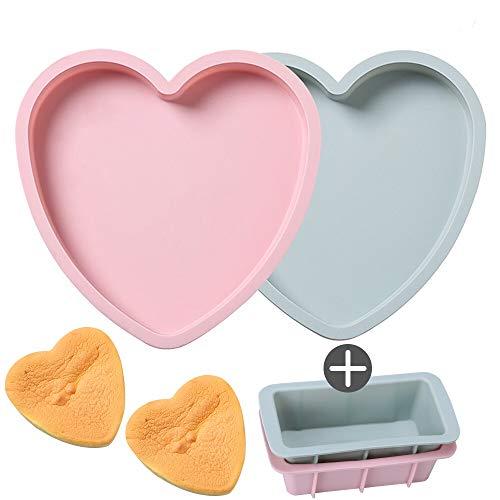 Moldes de Silicona Reposteria, Molde Tarta en forma de Corazón, Reutilizables y Antiadherentes 8 Pulgadas Moldes para Hornear de Pan Rectangular Moldes para Tostadas