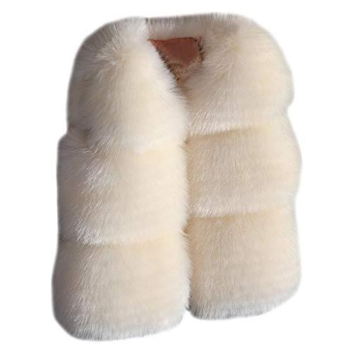 Zolimx❤️ Chaleco Sin Mangas para Niñas Chaqueta de Costura de Felpa de Otoño e Invierno Chaleco de Piel Sintética Chaqueta de Abrigo Cálido Ropa Gruesa Linda