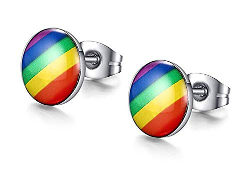 Stainless Steel Fashion Rainbow Ear Stud Earring for Gay & Lesbian Pride (1 Pairs colorfulER0011)