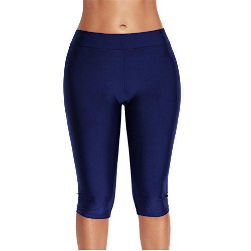Centrawin Damen Badehose Capris Strumpfhose Shorts Knielang Bikini Bottom Active Sport Leggings Bademode Gr. 42-44, blau