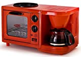 Americana Retro Nostalgia 3-in-1 Breakfast Maker Station 4 Cup Coffeemaker, Toaster Oven with Timer, Solid Red
