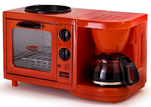 Americana Retro Nostalgia 3-in-1 Breakfast Maker Station 4 Cup Coffeemaker, Toaster Oven with Timer, Red