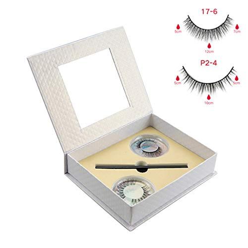 S-TROUBLE 2 Paires de Cils Eyeliner Kit sans Colle Non-magnétique réutilisable Faux Cils Ensemble Maquillage Longue durée étanche cosmétique avec étui à Miroir