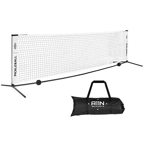A11N Portable Pickleball Net for Driveway - Half Court Size, 11ft Net for Pickleball, Kids Tennis, Soccer Tennis