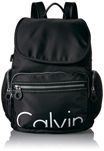 Calvin Klein Athliesure Nylon Multi-Pocket Backpack Shoulder Bag, BLK/WHT, One Size