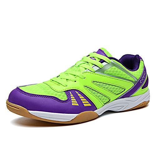 FJJLOVE Hommes Tennis De Table Chaussures, Wearable Badminton Chaussures Chaussures De Sport Respirante Ping Pong Sneakers Sports D'intérieur Et D'extérieur Chaussures,Vert,40