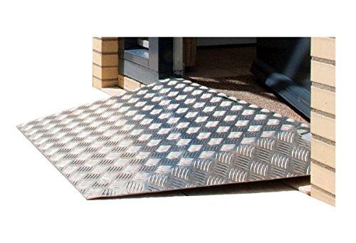 FabaCare Premium Rollstuhlrampe Aluminium, mobile Rampe mit Griff und Auflage, Schwellenrampe, Easy to Clean Spezialversiegelung, Stufenrampe bis 250 kg, 7 x 34 x 72 cm