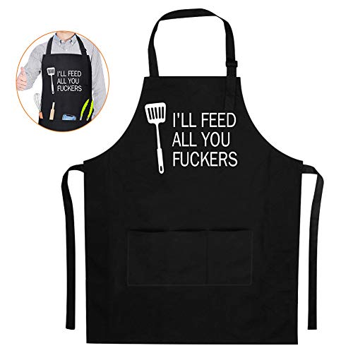 Lzellah Funny Bib Apron for Men Women BBQ Grill Apron - I'll Feed All You - Adjustable Black Cooking Apron with Pockets Unisex Chef Apron Novelty