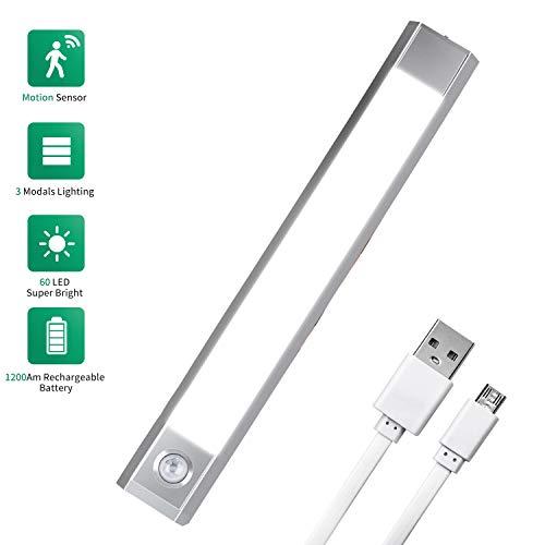 LED Schrankbeleuchtung mit Bewegungsmelder, USB Aufladbar Batterie LED Sensor Licht Schrankleuchten Unterbauleuchte Kabellos, 3 Modus Beleuchtung Warmweiß, Kaltes Weiß und Weiß