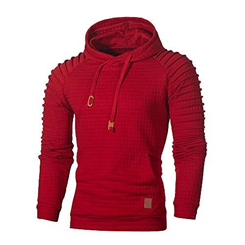 WXZZ Sudadera con capucha para hombre, con pliegues, a cuadros, manga larga, ajustada, deportiva, fitness, con cordón y bolsillo tipo canguro, tallas S-5XL, rojo, XXL