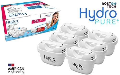 Boston Tech 6 Cartuchos Hydro Pure+, filtros de Agua compatibles con Jarras Brita Maxtra y Maxtra+, Efecto Prolongado (12 Meses, 6 x 60 días Cada Filtro) reducen la Cal y el Cloro. Gran Sabor
