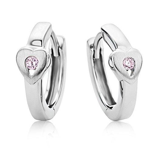 Miore Ohrringe Kinder Mädchen Silberfarbig 925 Sterling Silber Creolen mit Herz