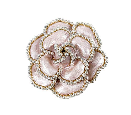 Fashion jewelry designer big immitation pearl classic round shape enamel camellia brooch pin for women(Pink)