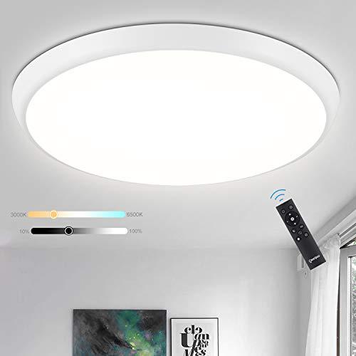 Oeegoo Lámpara LED de techo regulable 24 W 2700Lm, IP54 resistente al agua lámpara de techo con mando a distancia, Plafón LED regulable como luz nocturna, lámpara de baño, φ30cm