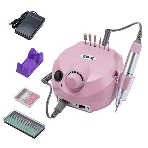 CO-Z Professional 30,000 RPM Electric Acrylic Nail Drills File Machine Gel Nail Grinder Tool with Polish Bits Set - Super Quiet (Pink)