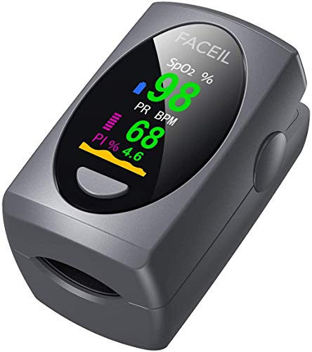 Pulse Oximeter Fingertip, Digital Blood Oxygen Saturation Monitor for SpO2 Level and Pulse Rate with Pulse Bar Graph, Portable OLED Display Oximeter (2*AAA Batteries Include)