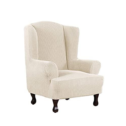 Zoyay Funda de sillón orejero elástica con Orejas Fundas sillón Relax Protector de Muebles Reclinable Fundas para Butacas Funda Sofa 1 Plaza Sala Dormitorio Hotel-Blanco Crema