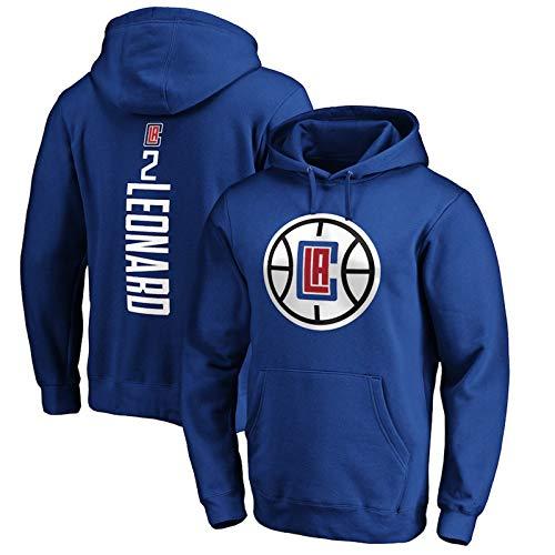 AWEY Clippers Leonard 2# Basketball Hoodie Sweatshirt Herren Pullover 2021 All-Star Neue Komfortable Microfleece Soft Casual Langarm Kapuzenjacke S-3XL Blau 1-M