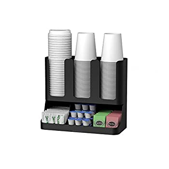 Mind Reader 6 Compartment Upright Breakroom Coffee Condiment and Cup Storage Organizer Black 13.5 x 4.30 x 12