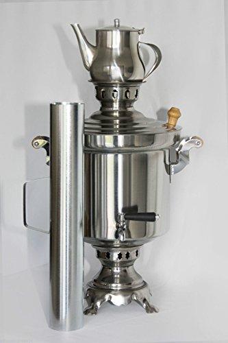 Russischer/Türkischer Edelstahl Holzkohle Samowar 5 Liter mit 1 Liter Teekanne
