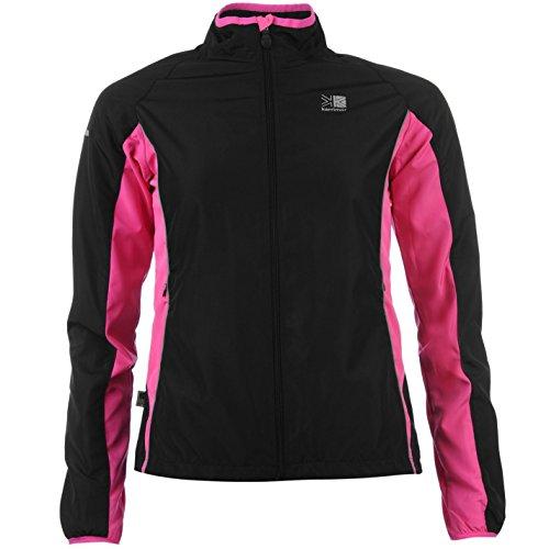 Karrimor Womens Ladies Running Jacket Long Sleeve Zip Fastening Coat Top Black/Pink 14 (L)