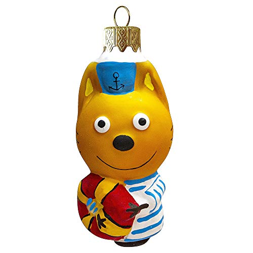 Books.And.More Hanging Ornaments for Christmas 3.1-inch Hand-Painted Korzhik The Cat Glass Christmas Ornament Christmas Tree Decor