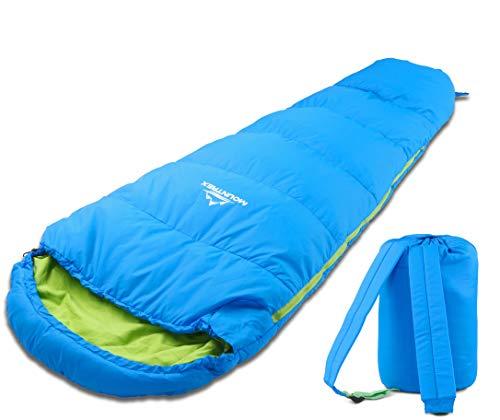 MOUNTREX Kinderschlafsack - Tragbar wie EIN Rucksack - Schlafsack für Kinder (175 x 70 x 45 cm) - Outdoor, Reise, Zelten, Camping – Mumienschlafsack Leicht & Kompakt - 100% Baumwolle Innenfutter