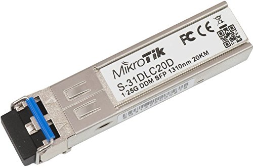 MicroTik Routerboard S-31DLC20D 1.25G SFP-transceiver, Dual-1310 LC-stekker, voor maximaal 20 kilometer single mode glasvezel verbindingen