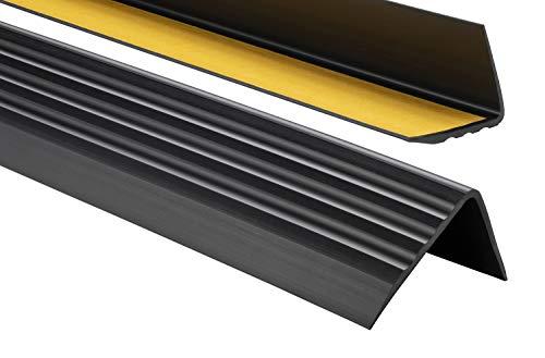 Nez de marche profil d'angle PVC autoadhésif 50x40mm antidérapant, descalier-protection, bande de bordure, 150cm, Noir