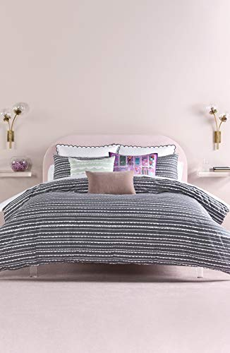 Kate Spade New York Scallop Row Duvet Cover Set, Full, Charcoal