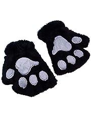 Myya Kvinnor vinter varma halvfingerhandskar söt tecknad katt tass broderi anime kattunge tjocka luddiga plysch fingerlösa vantar