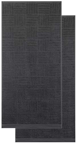 Brandsseller Schiesser Handtuch 2er-Set 50x100 cm 550g/m² 100% Baumwolle Doppelpack Handtücher - Anthrazit