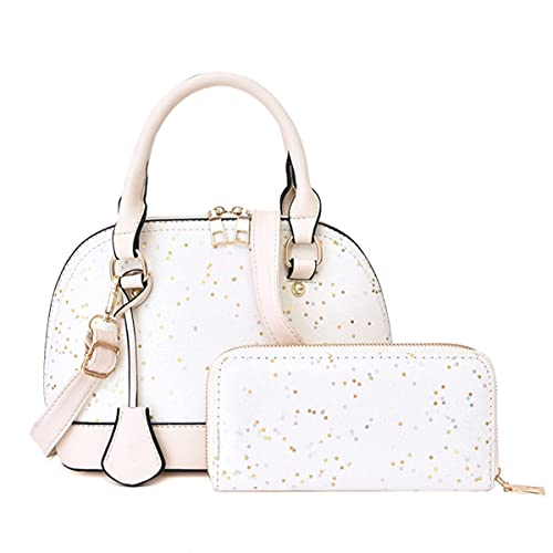 XIAOL Juego de 2 bolsas de mano de piel sintética con asa superior para mujer, con un monedero para ir de compras, regalo de viaje (color blanco, tamaño: L)