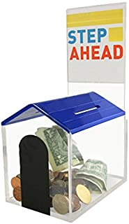 MCB Animal Dog House Charity Donation Collection Box with Display Sign Holder with Cam-Lock and 2 Keys (Blue)