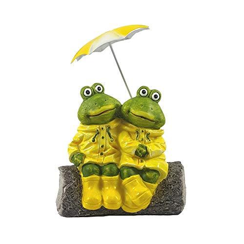 Agora Frösche mit Regenschirm Teichdeko Gartenfigur Frog Wildlife Froschfamilie Teich Gartendekoration