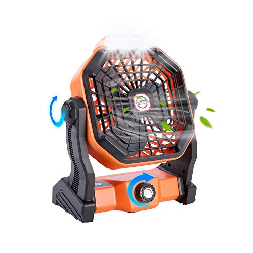 Outdoor Camping Fan with LED Lantern and Hook, Small Personal USB Desk Fan Portable Rechargeable Battery Operated Fan,Fan for Tent Camping,Cordless Travel Fan Office,Home,Table,Bedroom Traveling