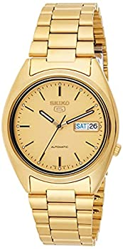 Seiko Men s SNXL72 Seiko 5 Automatic Gold-Tone Stainless Steel Bracelet Watch with Patterned Dial