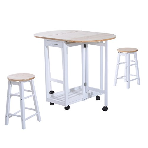 HOMCOM 3PC Wooden Kitchen Cart Mobile Rolling Trolley Folding Bar Table Two Stools Dining Chair Storage Shelf w/2 Drawers & 6 Wheels