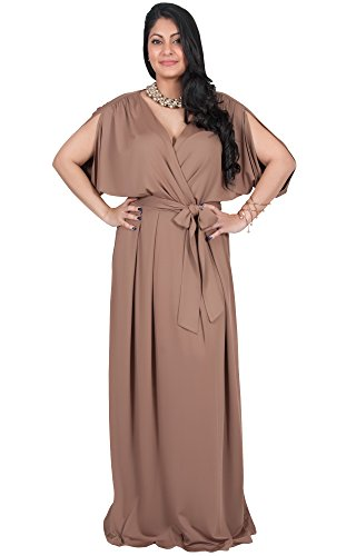 Adelyn and Vivian Plus Size Women's Long Short Sleeve V-Neck Flowy Bridesmaid Wedding Sexy Party Summer Maternity Elegant Cocktail Evening Gown Gowns Maxi Dress Dresses, Brown/Latte 3X 22-24