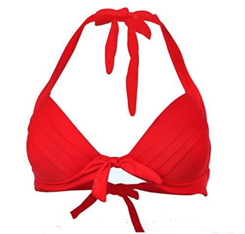 Viloree Vintage 1950's Rockabilly Damen Frauen Bikini Oberteile Push Up Neckholder Bügellos Rot 3XL
