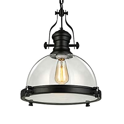 """NIUYAO Industrial Nautical 15.74"""" Wide Glass Pendant Light Retro Clear Ceiling Lighting Chandelier Hanging Light with Chain for Kitchen Restuarant Cafe Living Room Bar Black"""