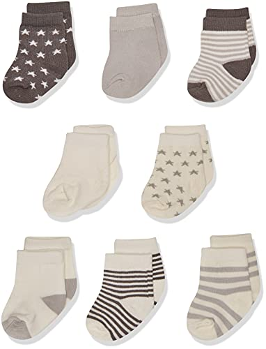 Touched by Nature Baby Organic Cotton Socks, Charcoal Stars, 0-6 Months