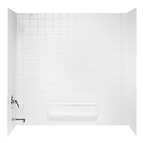 Swanstone TI30000.010 Veritek Glue-Up 3 Panel Bathtub Wall Kit, 30-in L X 60-in H X 59.625-in H, White