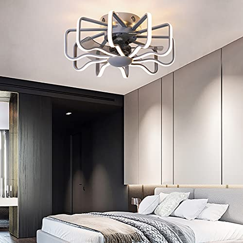 YUNLONG LED Reversible Ventilador Techo con Luz Y Mando A Distancia Silencioso 6 Velocidades Lamparas Ventilador De Techo Dormitorio Moderno Regulable Lamparas Ventilador De Techo Salon,Gris