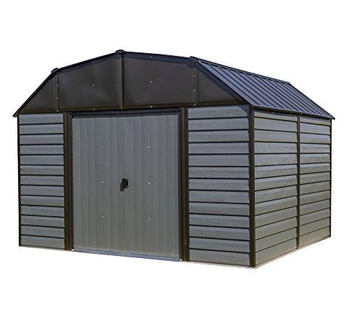 Spacemaker Metallgerätehaus, Metallgartenscheune, Geräteschuppen Blockhausoptik grau-anthrazit// 313x273x223 cm // Gartengerätehaus