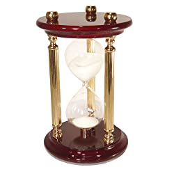 River City Clocks 7-Inch 15-Minute Sand Timer with High Gloss Wood & Brass Spindles