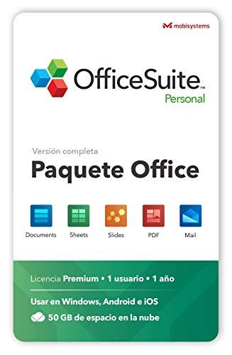 OfficeSuite Personal - Documents, Sheets, Slides, PDF & Mail - 1 Año de Licencia para 1 Usuario - 1 PC Windows y 2 Dispositivos Móviles