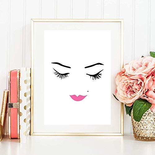 Kunstdruck Din A4 ungerahmt Wimpern Lashes Make up Gesicht Lippenstift Kosmetik Beauty Salon Druck, Poster, Bild