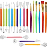 19 Pieces Cake Decorating Tools,Cookie Fondant Modeling Set,Marshmallow Sculpting Brush and Fondant Modeling Tools for DIY Cake Sugar Gum Paste Decorating Supplies